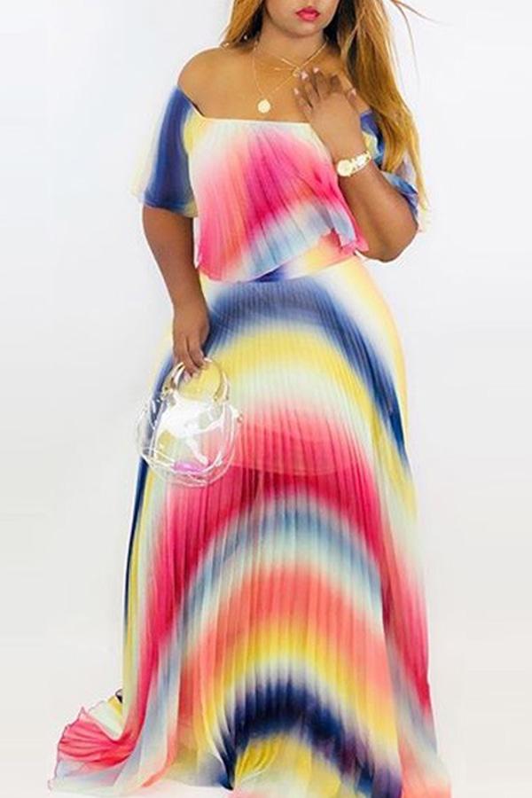 Lovely Trendy Off The Shoulder Gradual Change Printed Multicolor Floor Length Dress