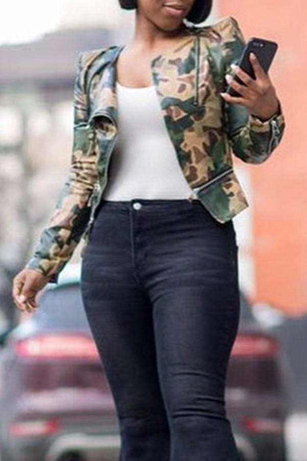 Lovely Trendy Camouflage Printed Jacket