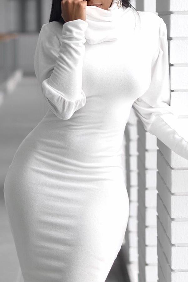 Lovely Casual Turtleneck Ruffle Design White Knee Length Dress
