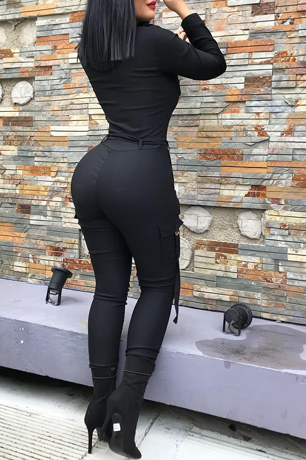 Lovely Casual Zipper Design Skinny Black One-piece Jumpsuit