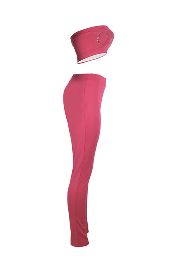 Lovely Casual Hot Drilling Decorative Rose Red Two-piece Pants Set