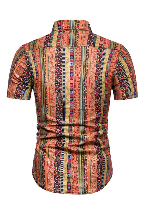Lovely Ethnic Turndown Collar Printed Red Shirt