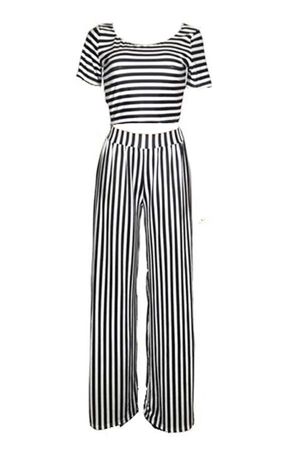 Lovely Casual Striped Printed White Two-piece Pants Set