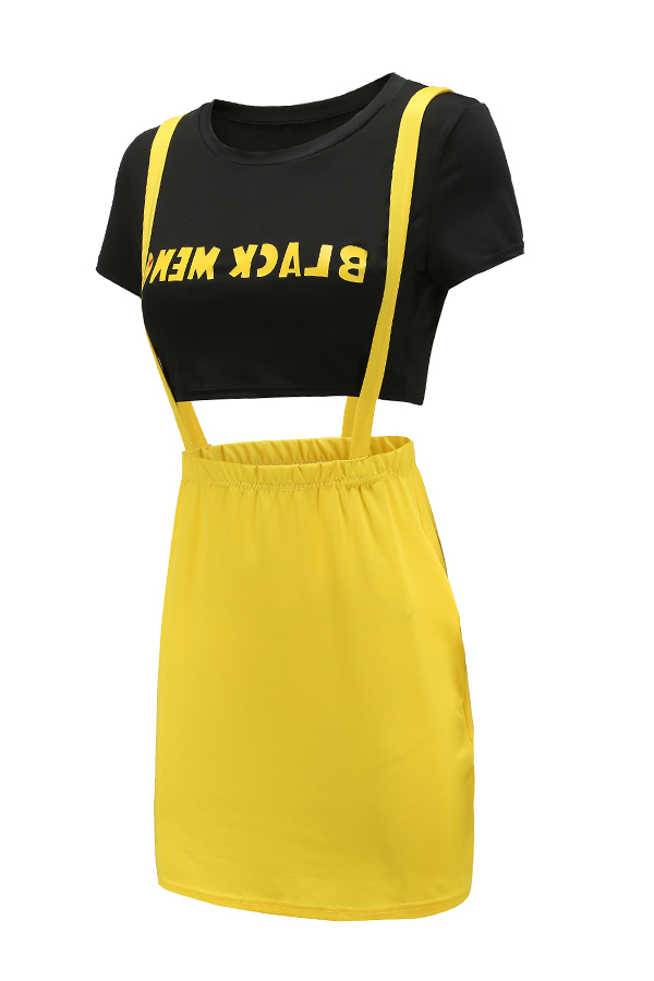 Lovely Casual O Neck Letter Printed Spaghetti Straps Yellow Two-piece Skirt Set