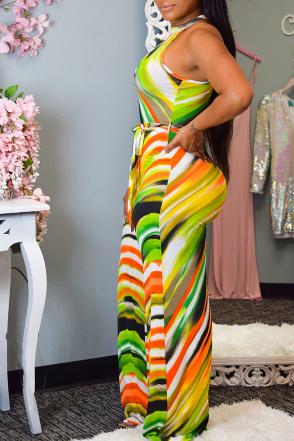 Lovely Work Off The Shoulder Printed Lace-up Green One-piece Jumpsuit(Batch Print)