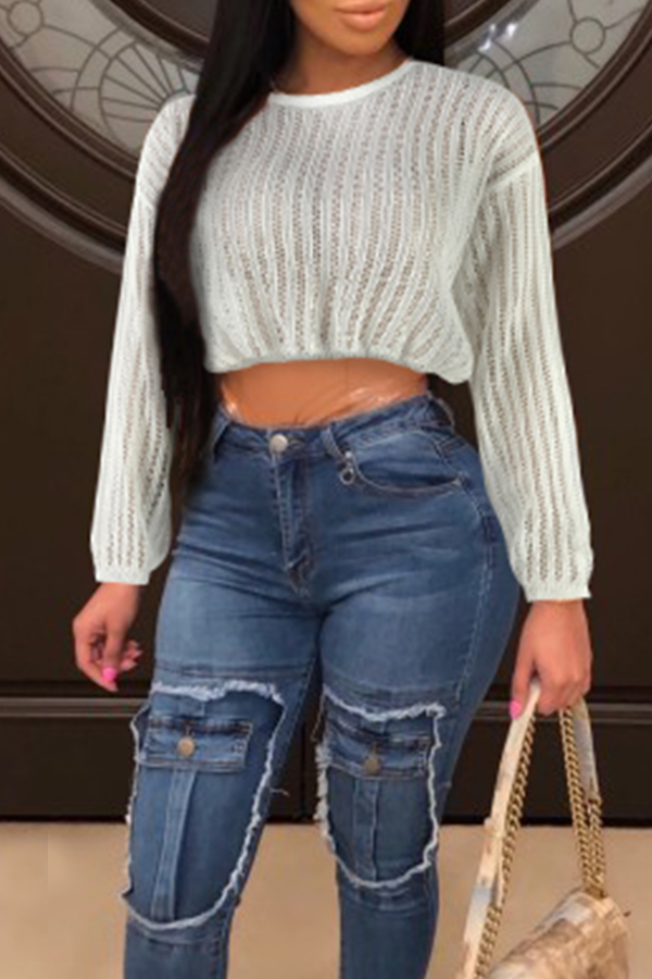 Lovely Trendy Hollow-out White Sweaters