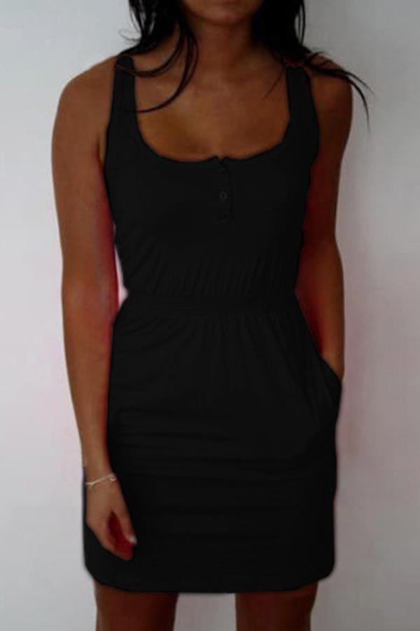 Lovely Casual U Neck Pockets Design Black Mini Dress