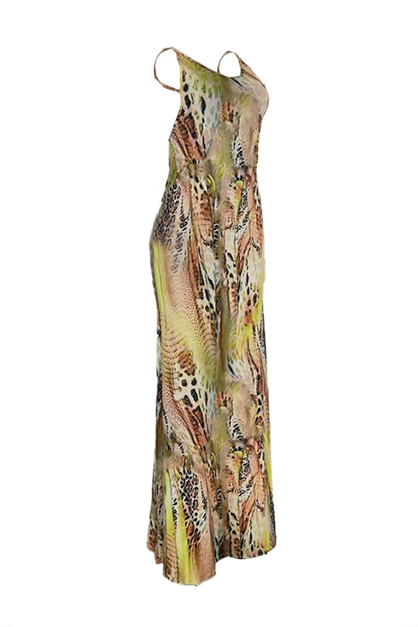 Lovely Trendy Sleeveless Backless Yellow Floor Length Dress