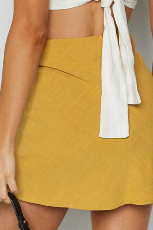 Lovely Casual Slit Yellow Mini Skirt
