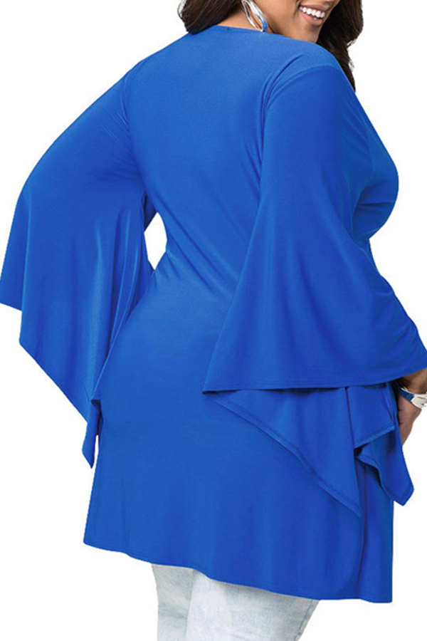 Lovely Casual V Neck Blue Plus Size Blouse