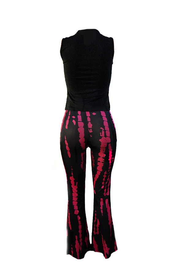 Lovely Casual U Neck Printed Rose Red Two-piece Pants Set