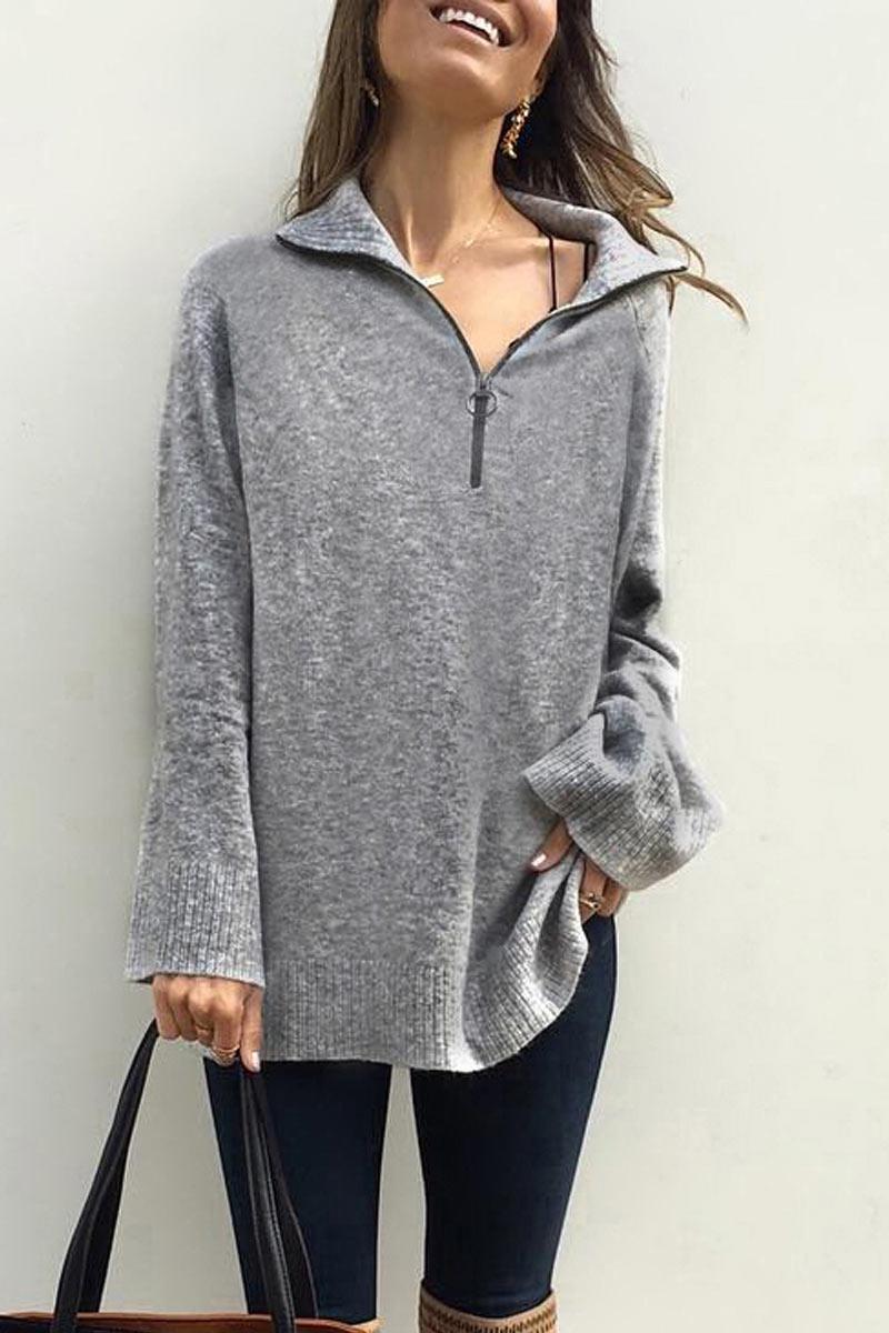 Lovely Turndown Collar Zipper Grey Sweater