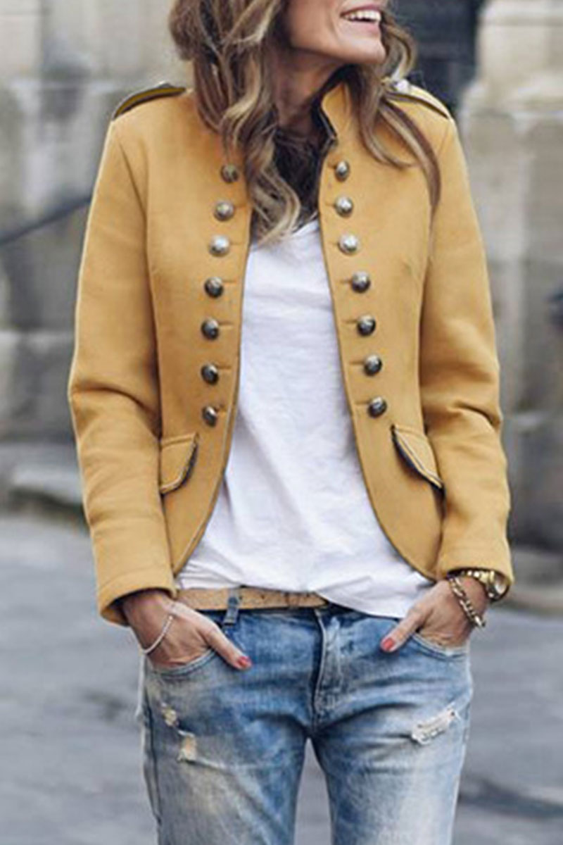 Lovely Buttons Design Yellow Coat