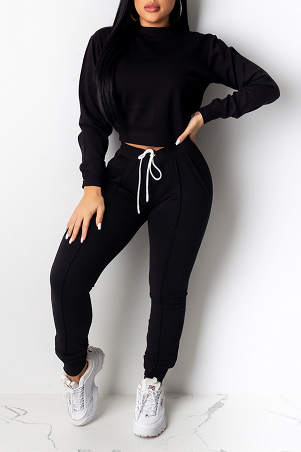 Lovely Casual Basic Black Two-piece Pants Set