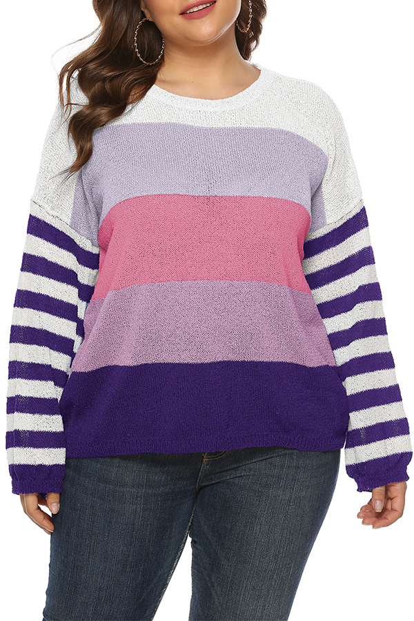 Lovely Casual Striped Purple Plus Size Sweaters