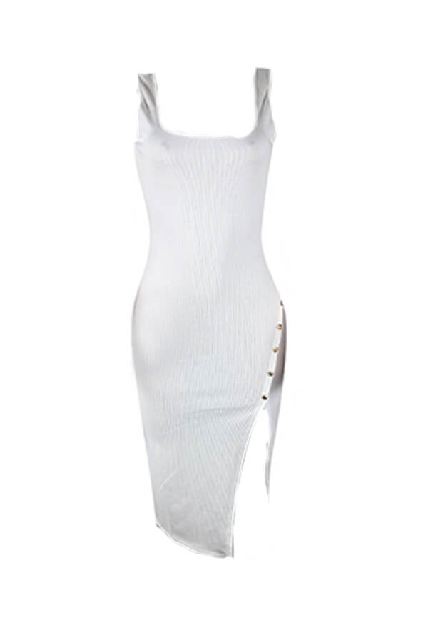 Lovely Casual Side Split White Knee Length Dress(With Elastic)