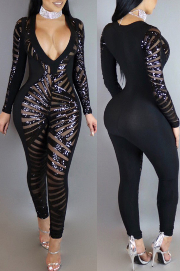 Lovely Sexy Deep V Neck Sequined Decorative Black One-piece Jumpsuit