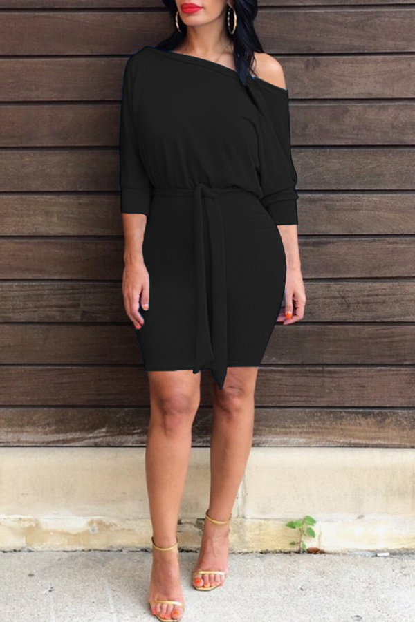 Lovely Casual Batwing Sleeves Black Mini Dress