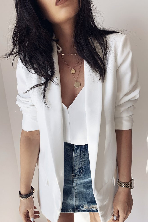 Lovely Casual Lapel White Blazer