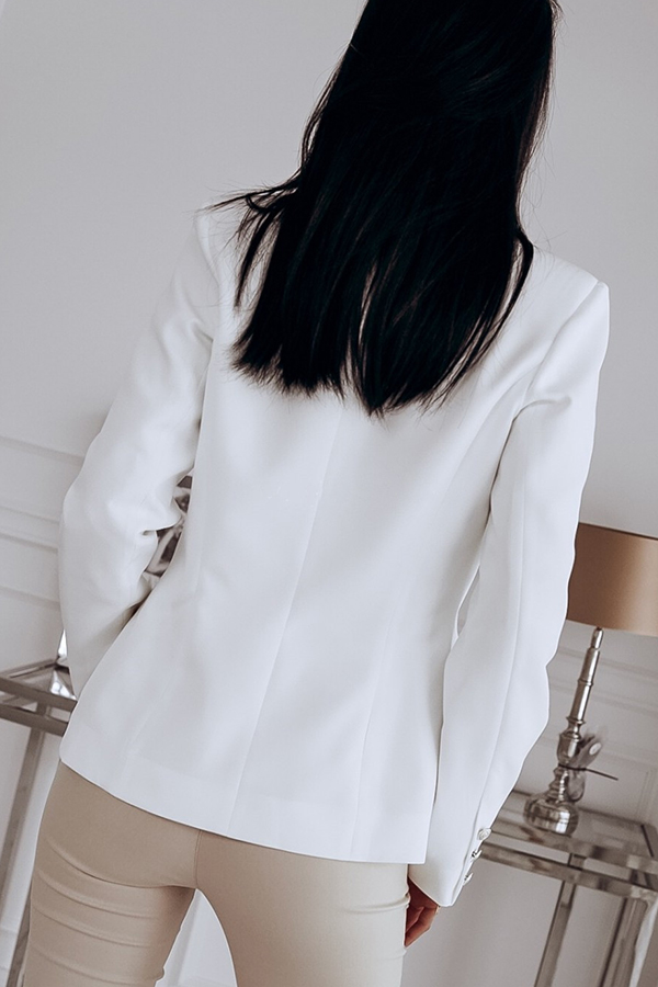 Lovely Trendy Double-breasted White Blazer