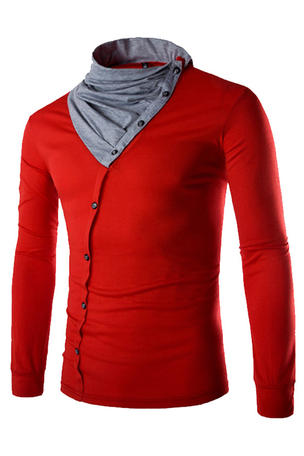 Lovely Casual Turtleneck Patchwork Red T-shirt