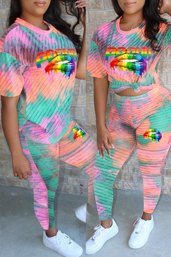 Lovely Casual Lip Printed Multicolor Two-piece Pants Set