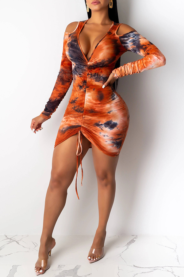 Lovely Sexy Cold Shoulder Jacinth Mini Dress