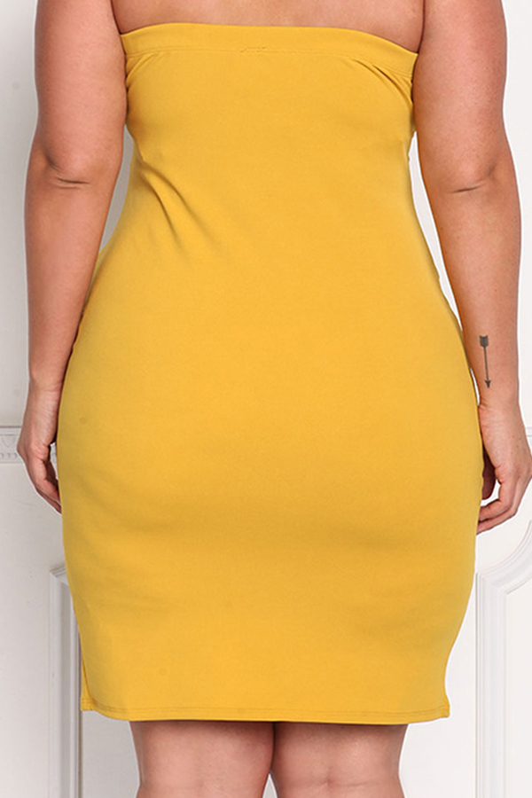 Lovely Casual Sleeveless Bandage Design Yellow Knee Length Plus Size Dress