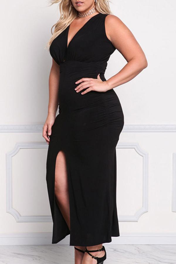 Lovely Trendy V Neck Slit Black Ankle Length Plus Size Dress