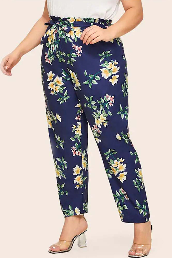 Lovely Casual Floral Printed Blue Plus Size Pants