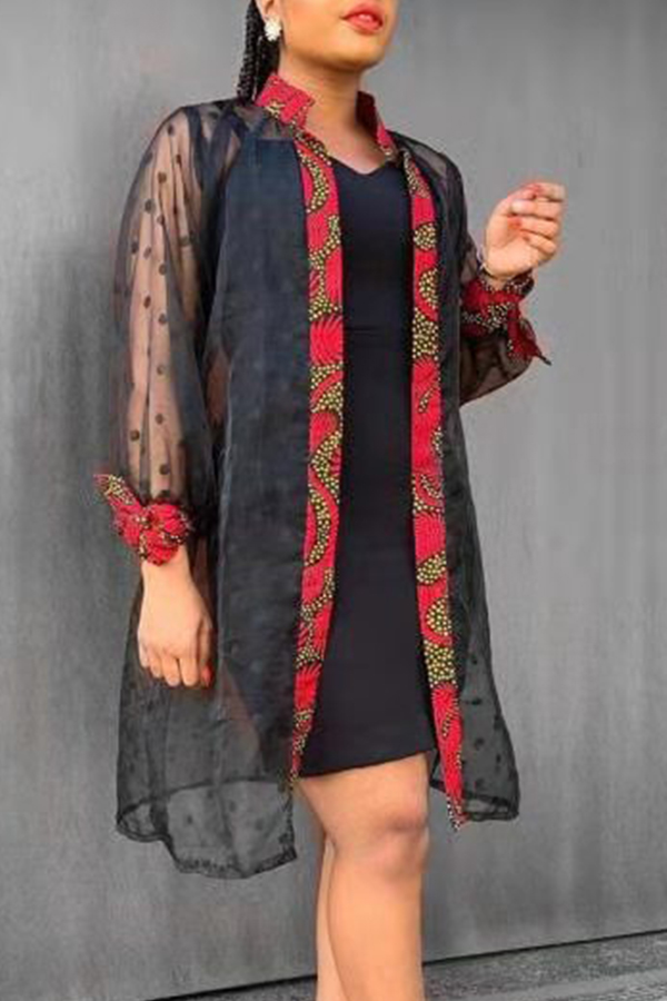 Lovely Casual Mandarin Collar Patchwork Multicolor Coat