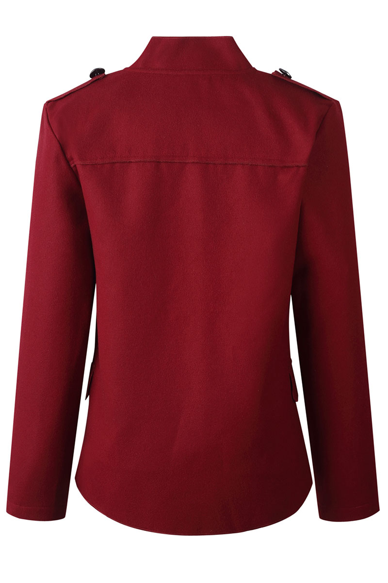 Lovely Buttons Design Wine Red Coat