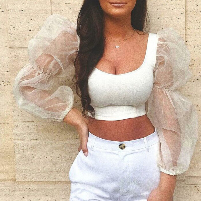 Lovely Sweet U Neck See-through White Blouse