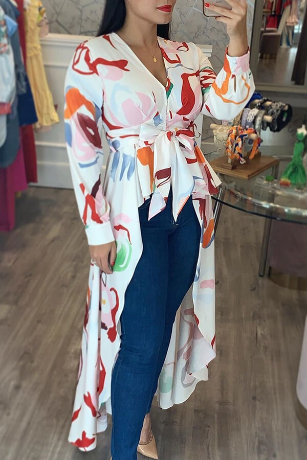 Lovely Casual Asymmetrical Printed White Blouse
