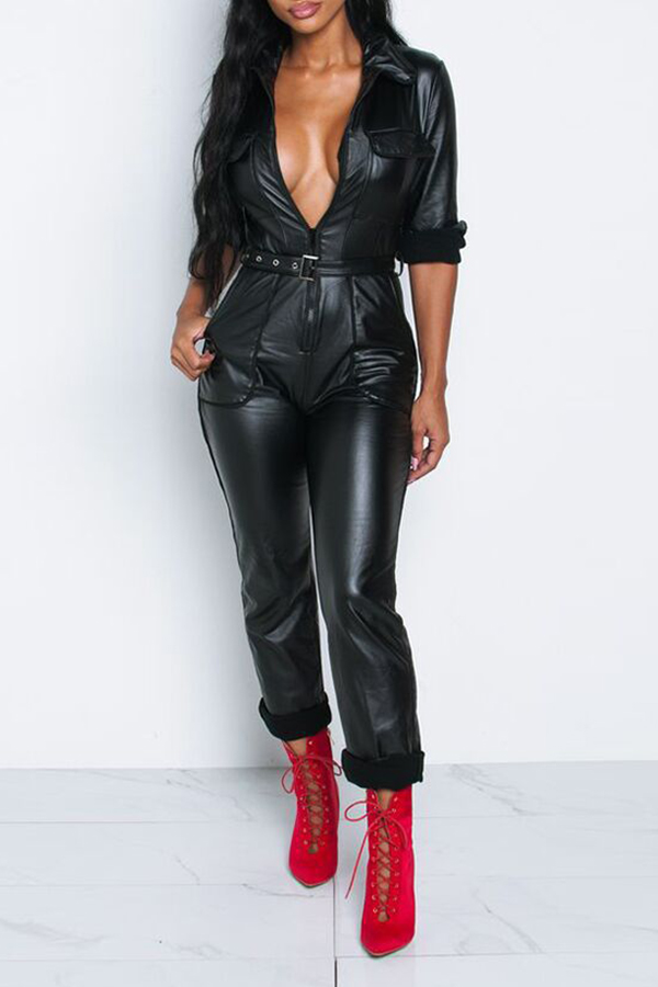Lovely Trendy Zipper Design Black One-piece Jumpsuit