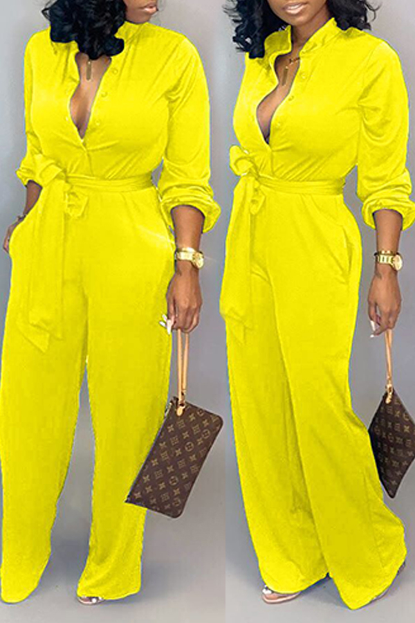 Lovely Work Lace-up Loose Yellow One-piece Jumpsuit