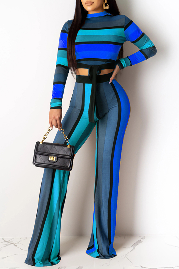 Lovely Casual Striped Knot Design Blue Two-piece Pants Set