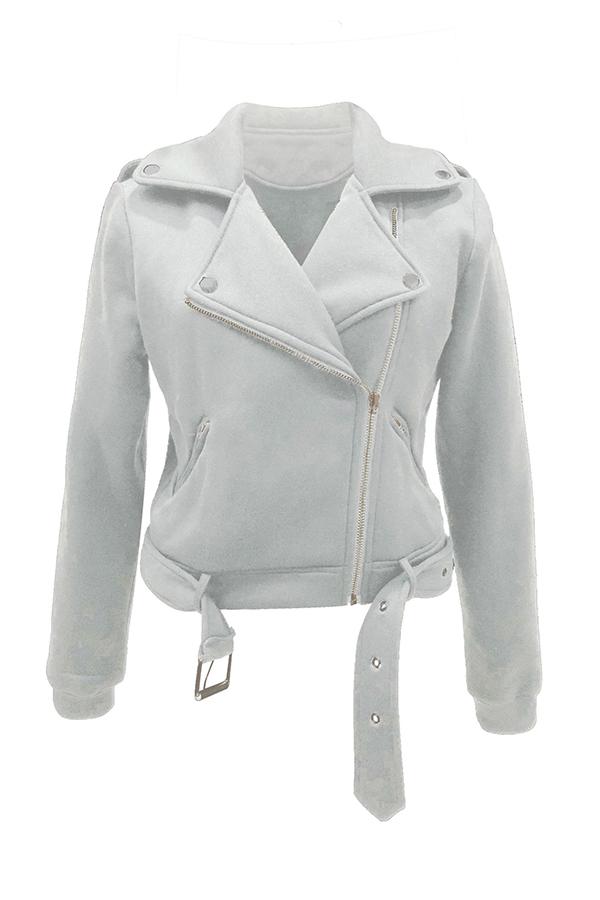 Lovely Casual Zipper Design White Coat