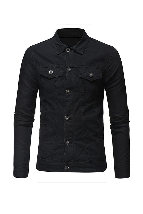 Lovely Casual Buttons Design Black Cowboy Wear