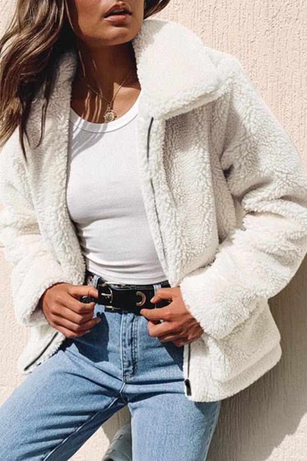 Lovely Leisure Zipper Design Beige Coat