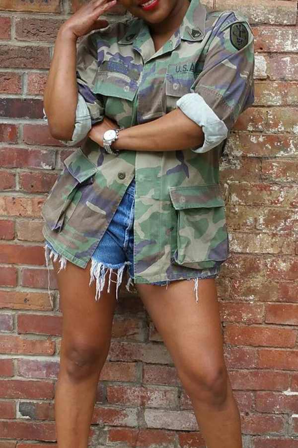 Lovely Casual Turndown Collar Camouflage Printed Jacket