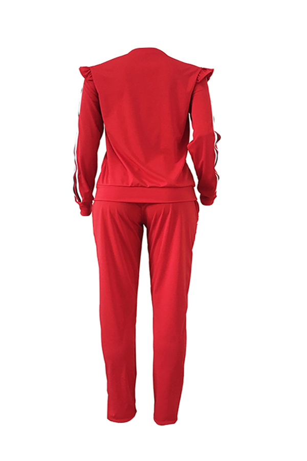 Lovely Casual Striped Flounce Design Red Two-piece Pants Set