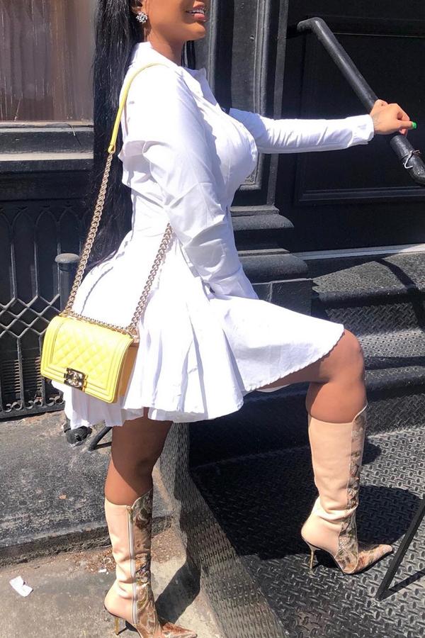 Lovely Casual Turndown Collar White Mini Dress