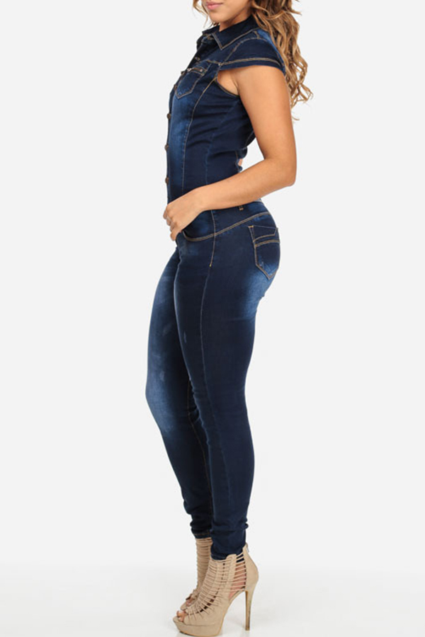 Lovely Casual Skinny Blue Denim One-piece Jumpsuit