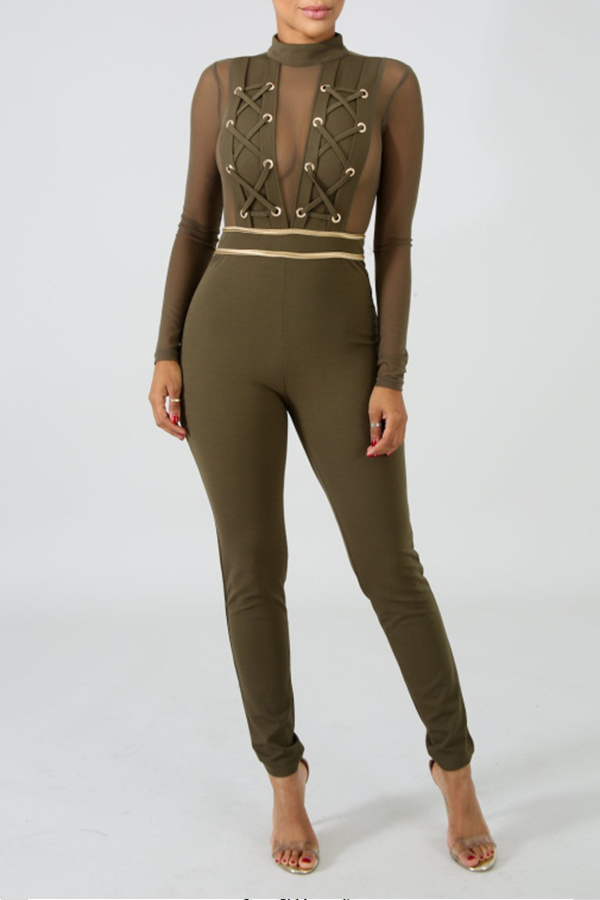 Lovely Trendy See-through Patchwork Green One-piece Jumpsuit