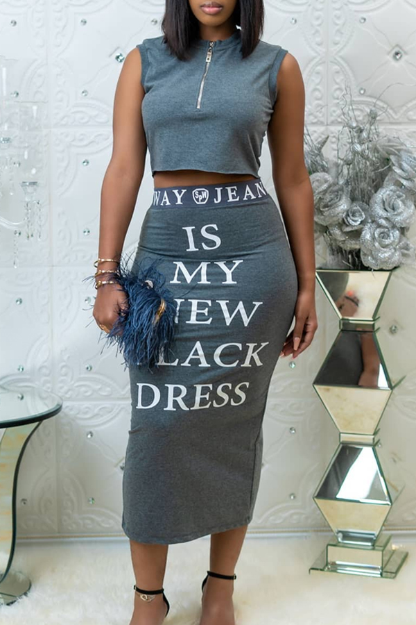 Lovely Casual Letter Printed Grey Two-piece Skirt Set