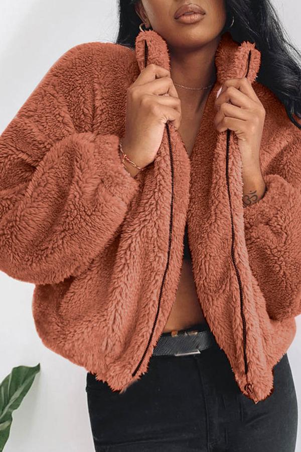 Lovely Trendy Zipper Design Deep Camel Coat