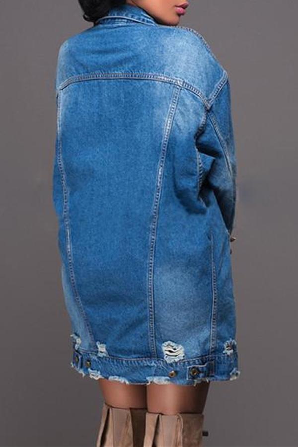 Lovely Casual Broken Holes Deep Blue Denim Coat