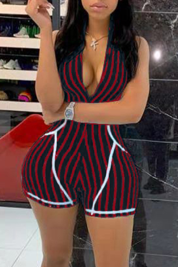 Lovely Casual Striped Red One-piece Romper