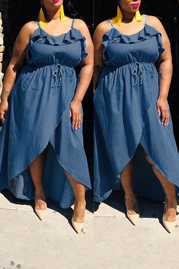 Lovely Casual Sleeveless Flounce Design Blue Knee Length Plus Size Dress